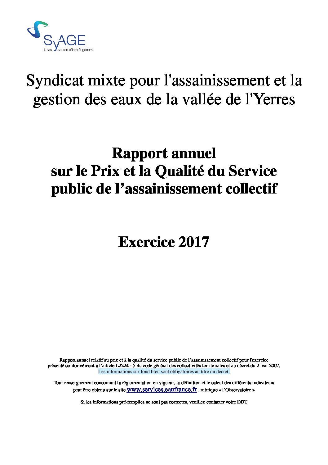 Prix et qualité du service public de l'assainissement collectif en 2017