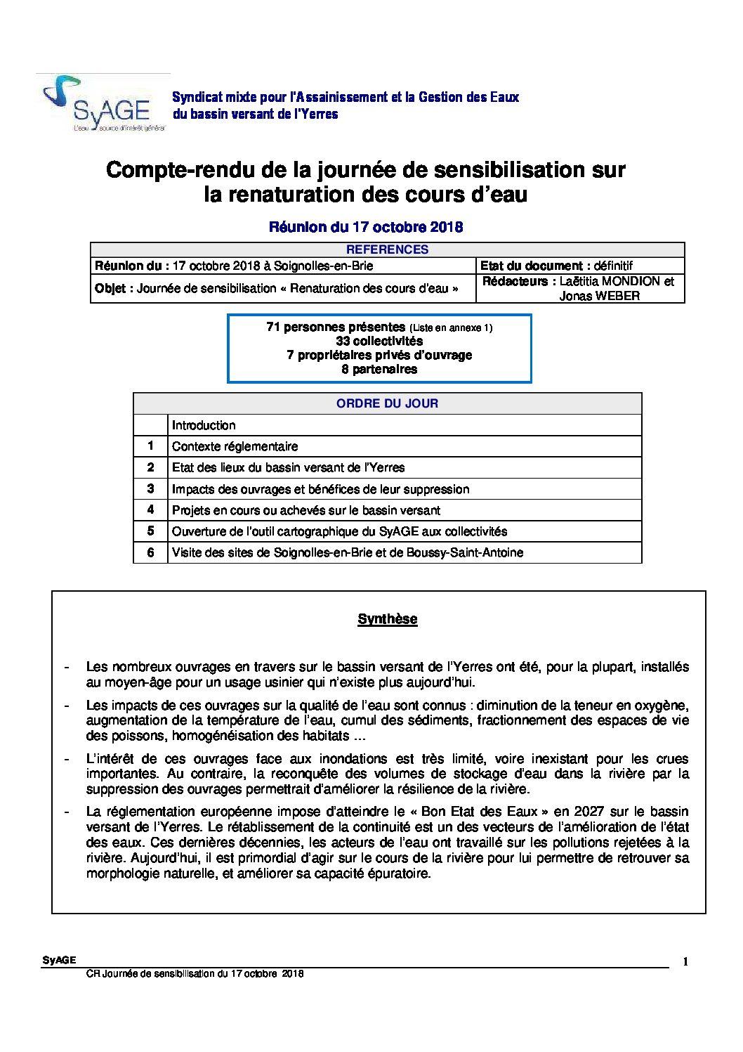 Réunion technique du 17 octobre 2018 sur la renaturation des cours d'eau
