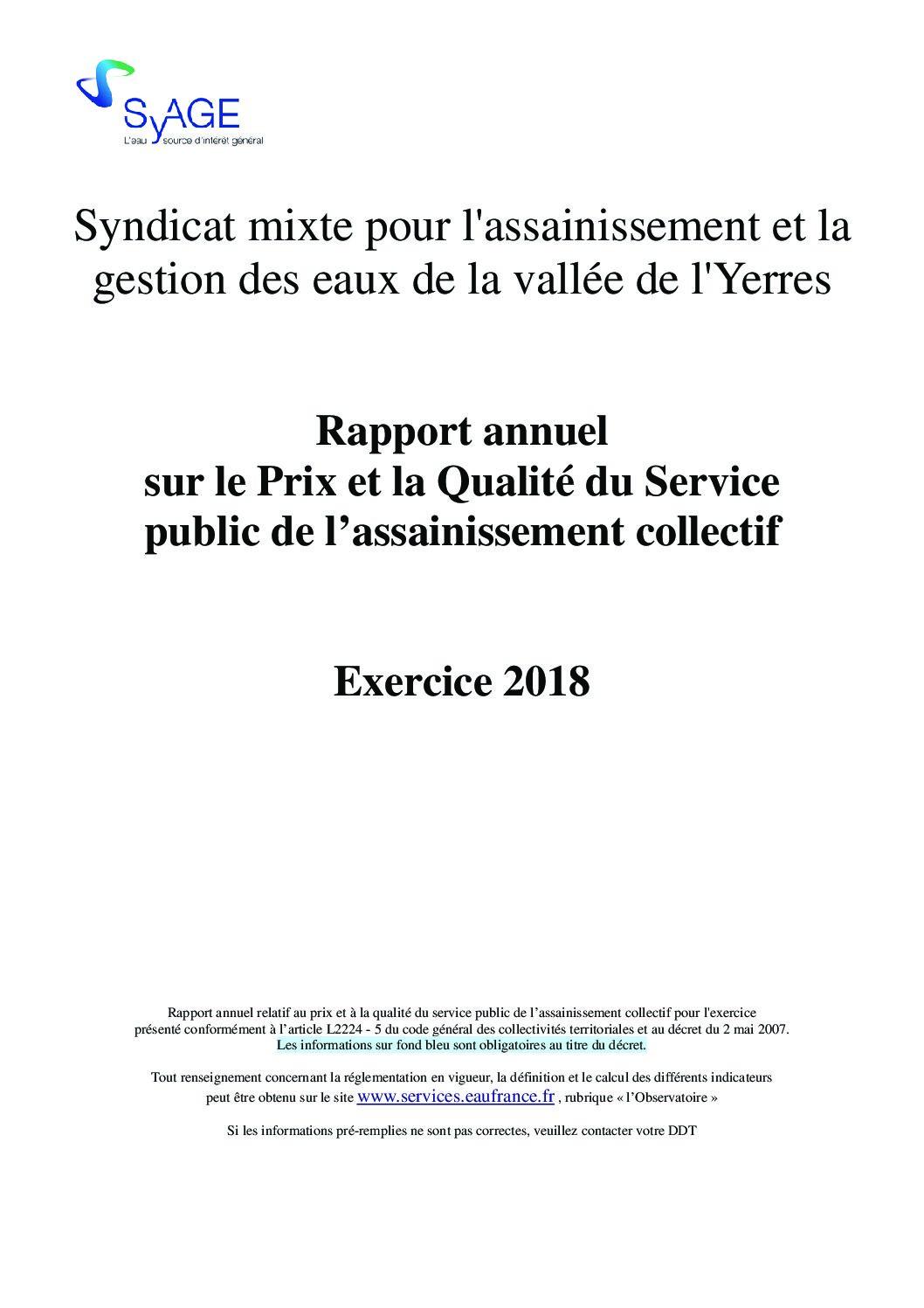 Prix et qualité du service public de l'assainissement collectif en 2018