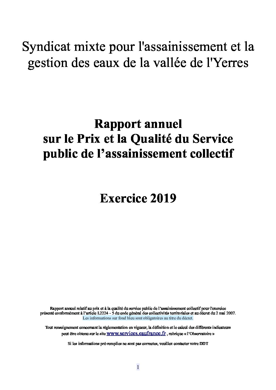 Prix et qualité du service public de l'assainissement collectif en 2019