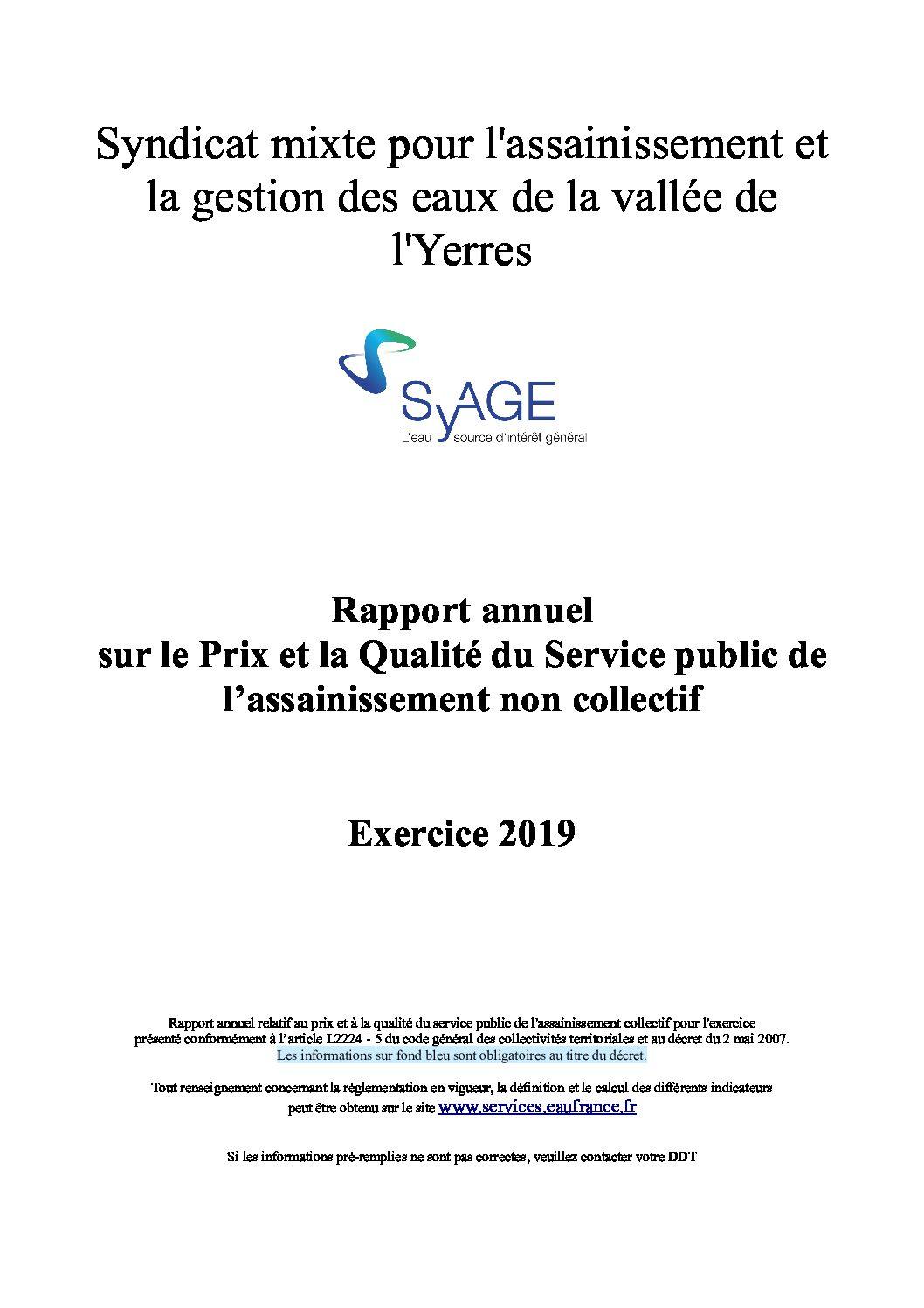 Prix et qualité du service public de l'assainissement non collectif en 2019