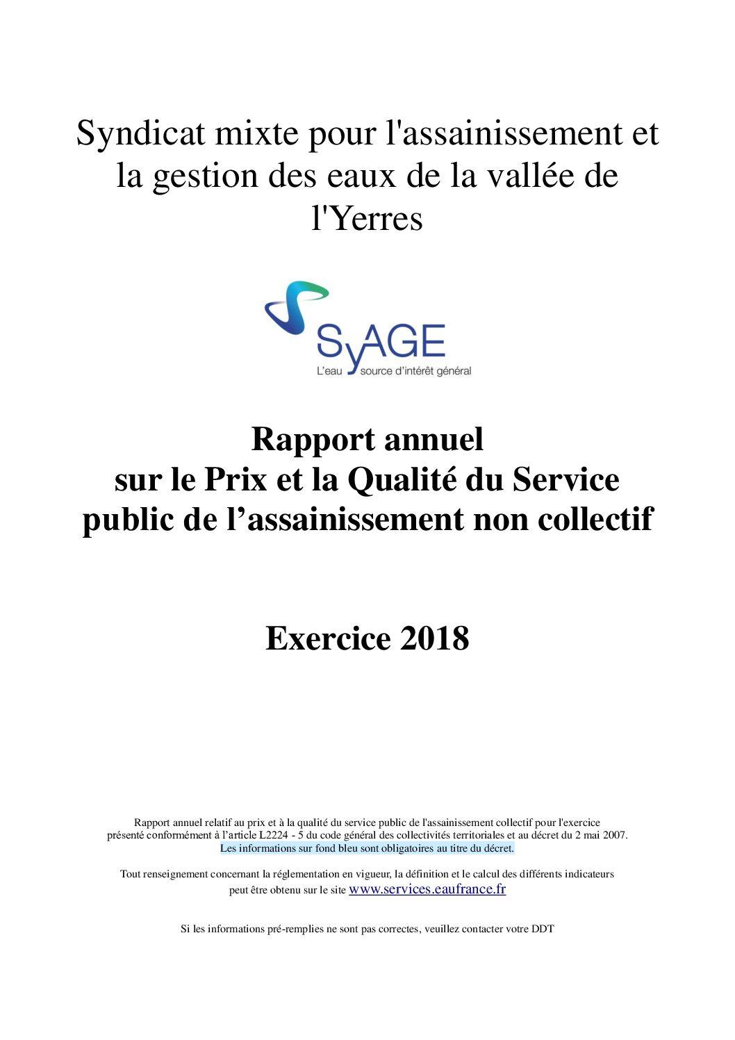 Prix et qualité du service public de l'assainissement non collectif en 2018