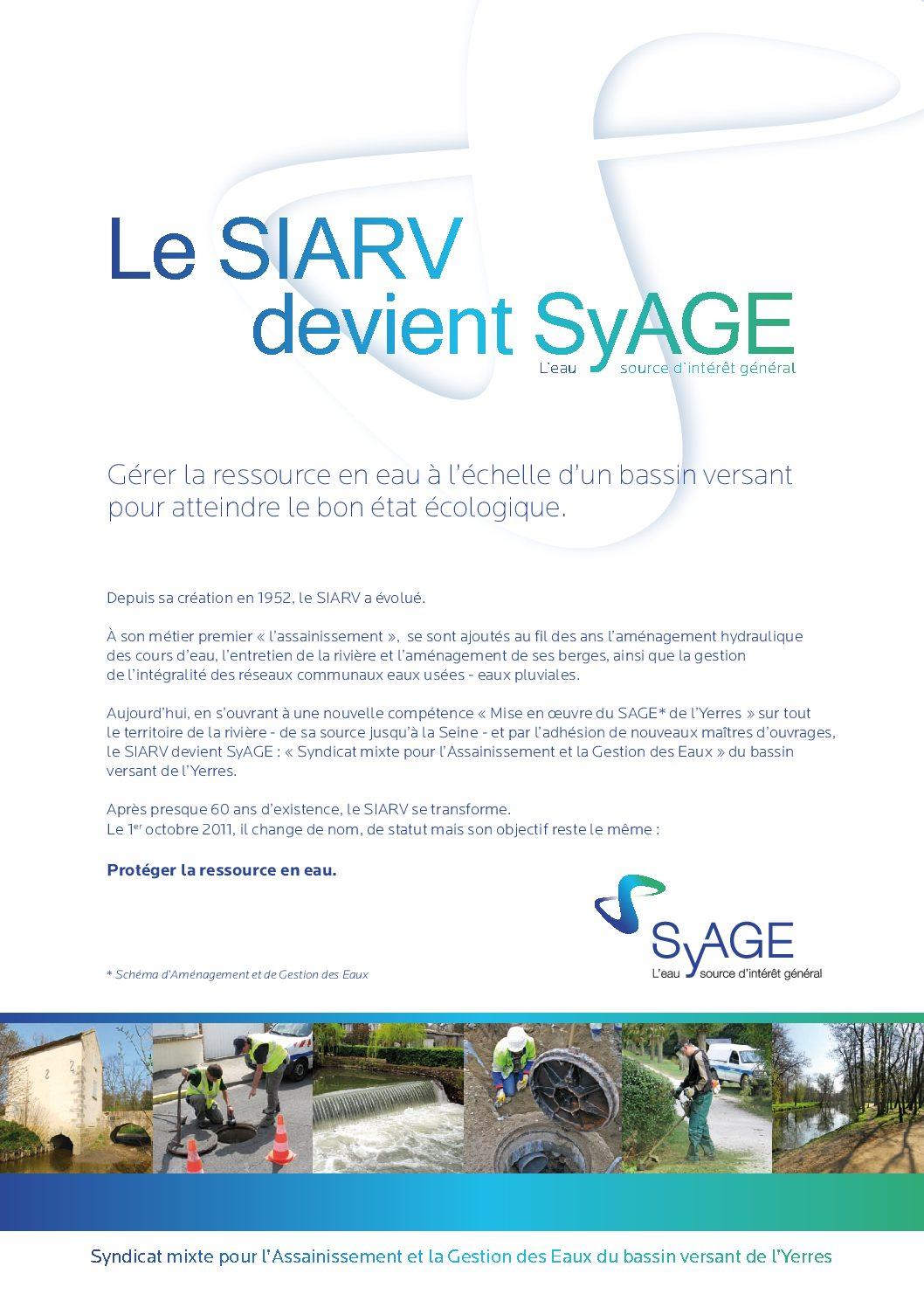 Le SIARV devient SyAGE