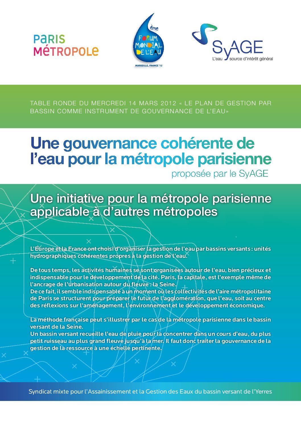 Une gouvernance cohérente de l'eau pour la Métropôle parisienne