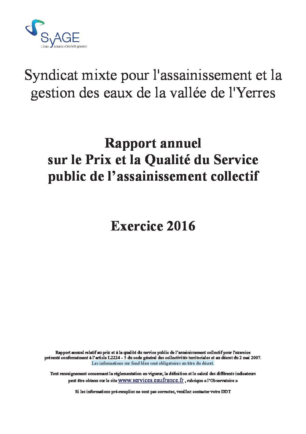 Prix et qualité du service public de l'assainissement collectif en 2016