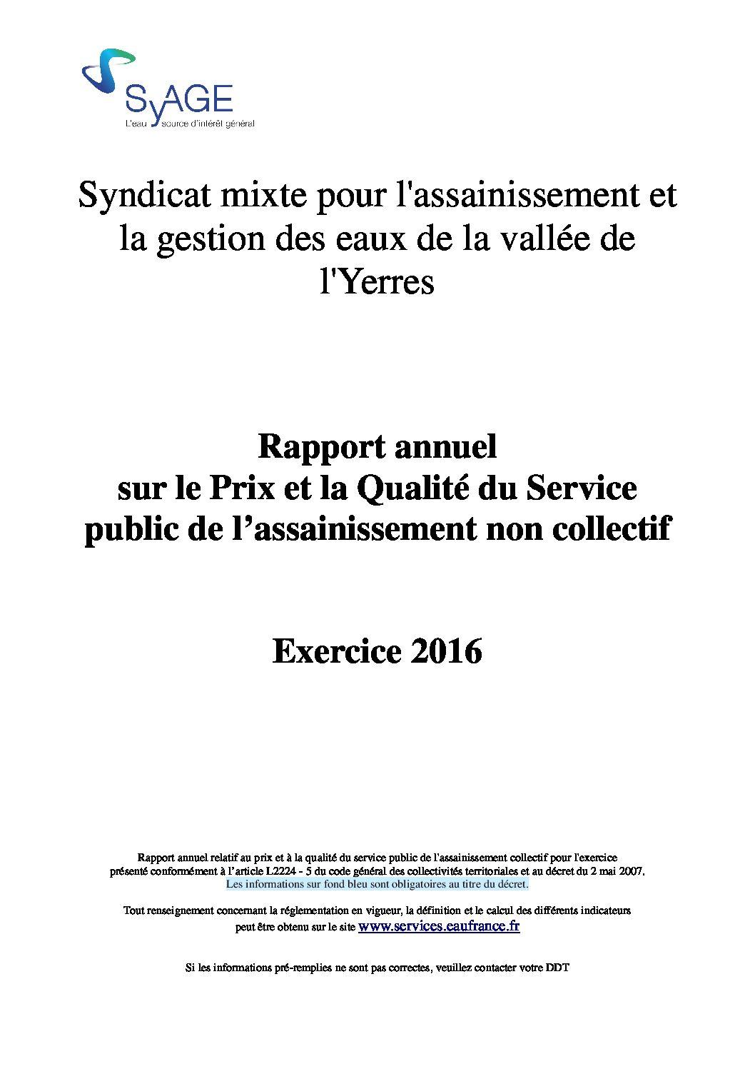 Prix et qualité du service public de l'assainissement non collectif en 2016